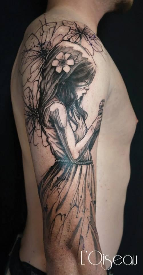 Illustrative style colored shoulder tattoo of sad girl with flowers
