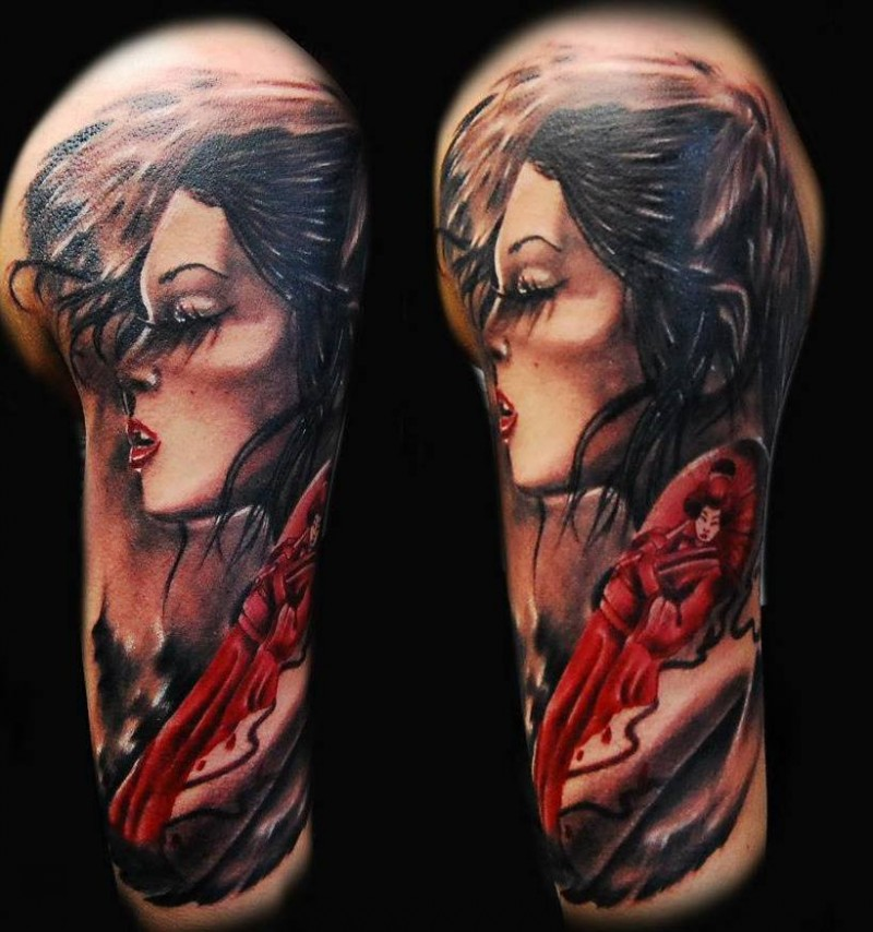 Illustrative style colored shoulder tattoo of woman with geisha picture