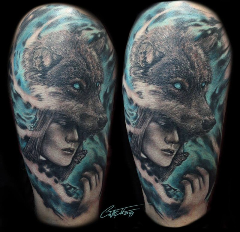 Illustrative style colored shoulder tattoo of fantasy wolf with woman face