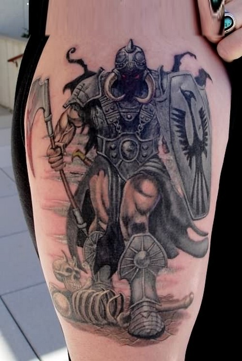 Illustrative style colored shoulder tattoo of fantasy shadow warrior