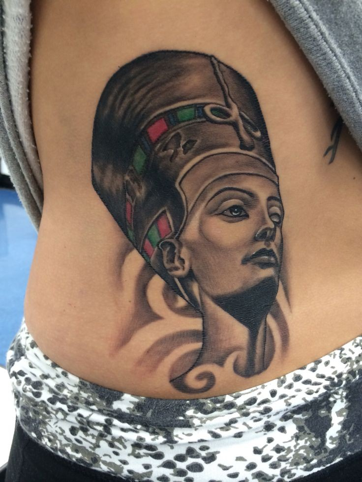 Illustrative style colored side tattoo of Egypt woman face