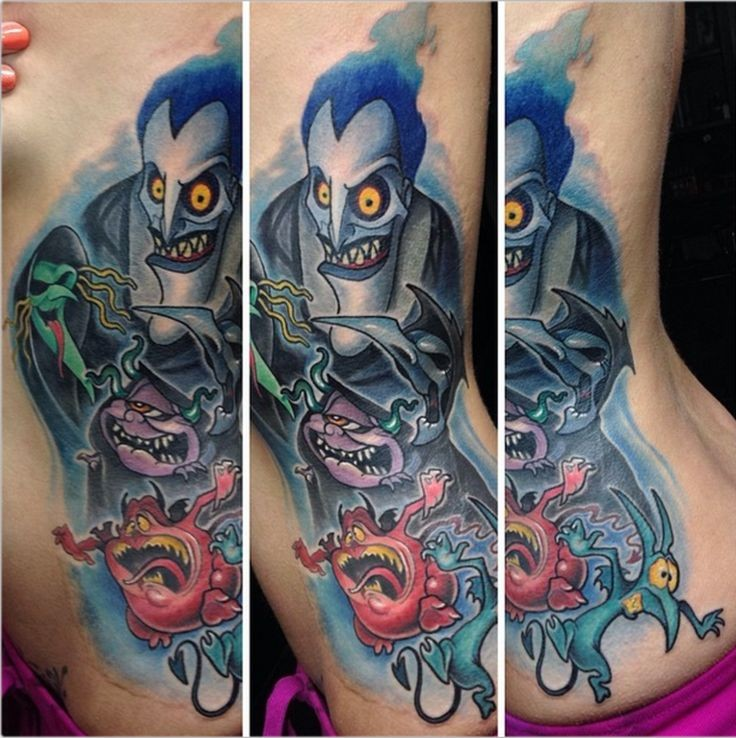 Illustrative style colored side tattoo of cartoon monsters