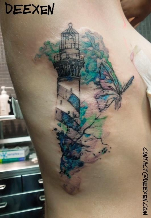 Illustrative style colored side tattoo of big lighthouse with butterfly