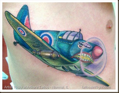 Illustrative style colored side tattoo of big fighter plane