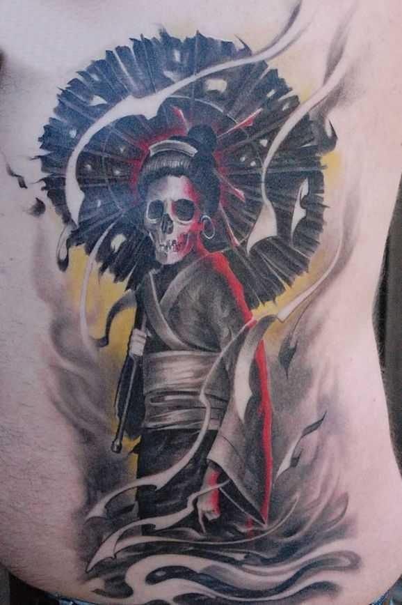 Illustrative style colored side tattoo of geisha skeleton