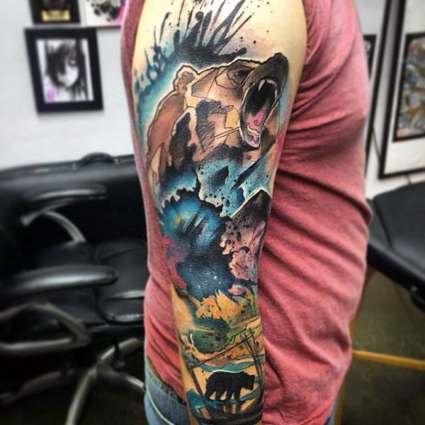 Illustrative style colored sleeve tattoo of watercolor bead