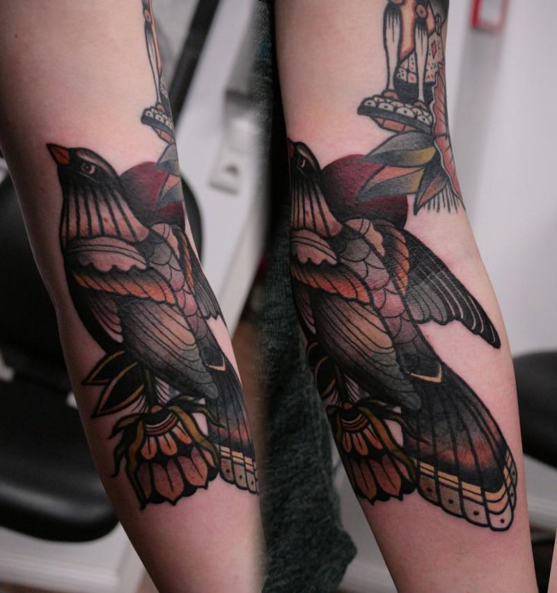 Illustrative style colored sleeve tattoo of big bird