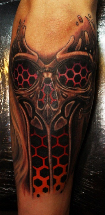 Illustrative style colored tattoo fo creepy skeleton with ornaments