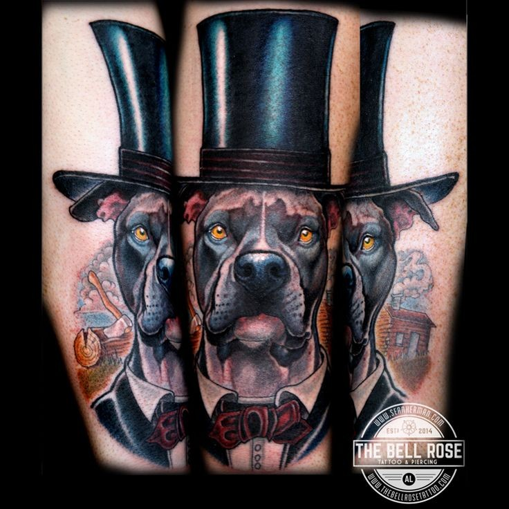 Illustrative style colored tattoo of big dog with hat