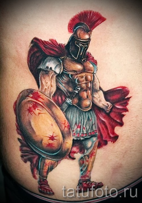 Illustrative style colored tattoo of bloody warrior with shield