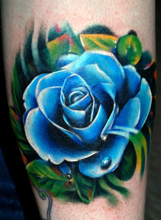 Illustrative style colored tattoo of blue rose