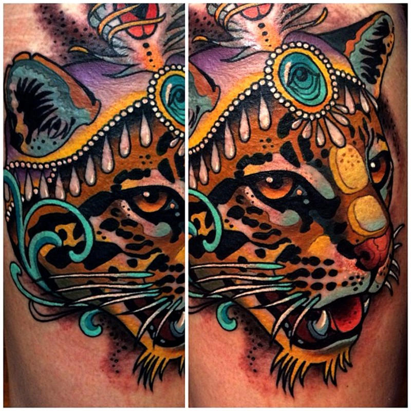 Illustrative style colored tattoo of cool leopard and jewelry