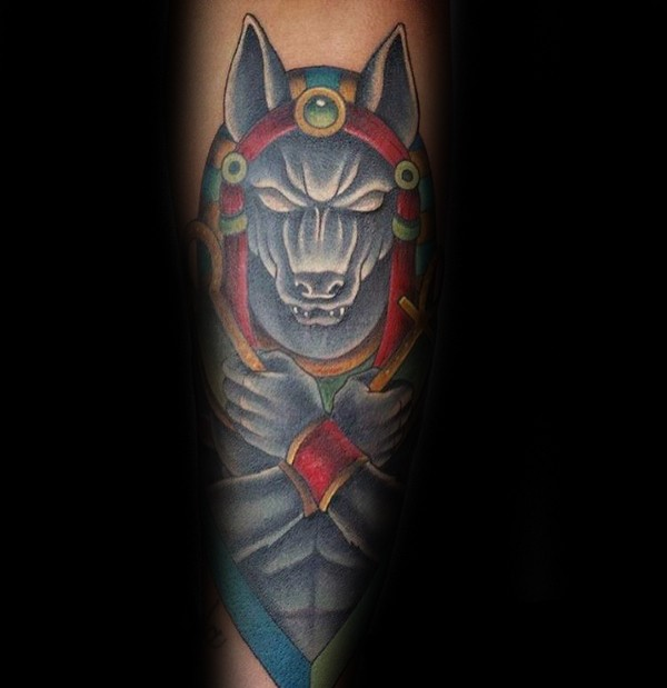 Illustrative style colored tattoo of Egypt God Anubis