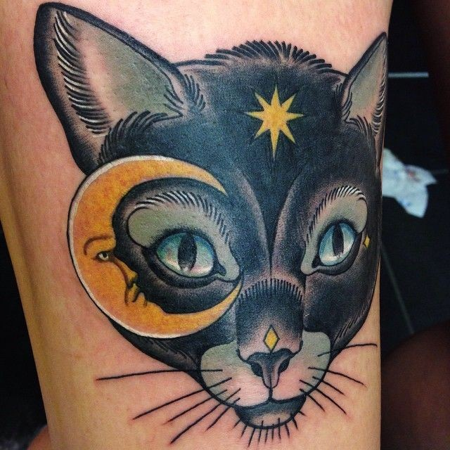 Illustrative style colored tattoo of fantasy cat with moon and star