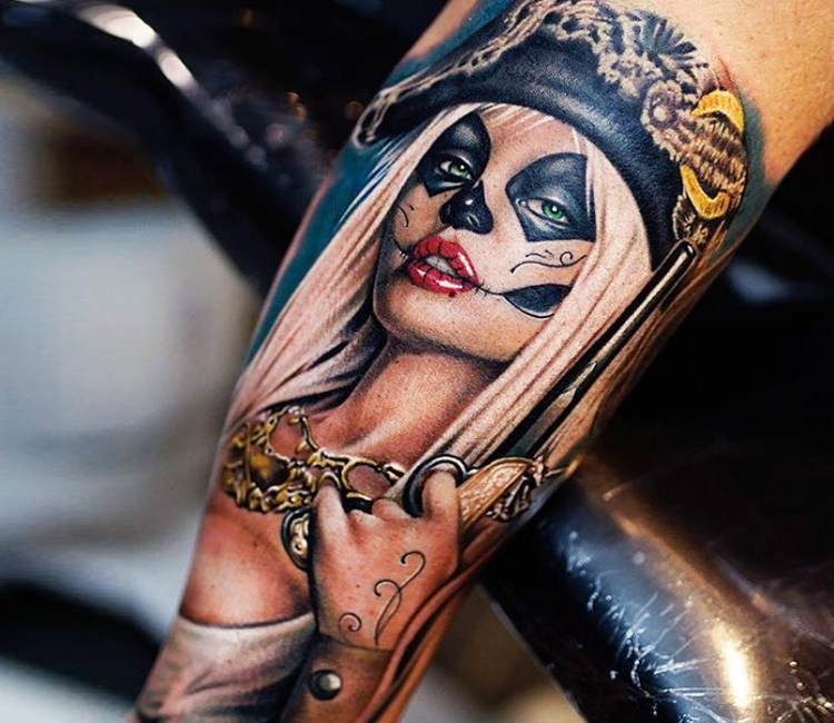 Illustrative style colored tattoo of Mexican sexy woman