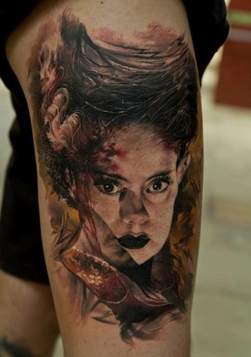 Illustrative style colored tattoo of mystical woman face