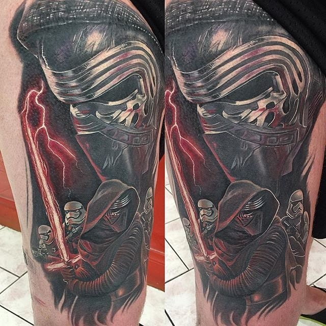Illustrative style colored tattoo of Star Wars new episode sith