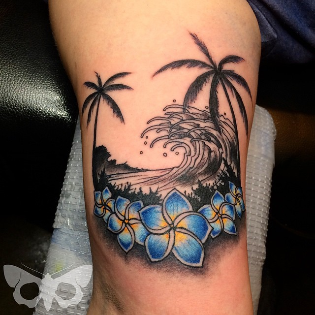 Illustrative style colored tattoo of waves with palm trees and flowers