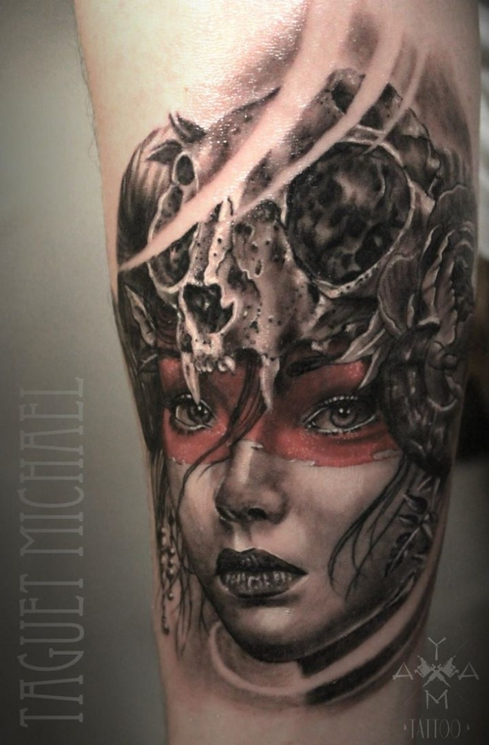 Illustrative style colored tattoo of woman with cat skull mask