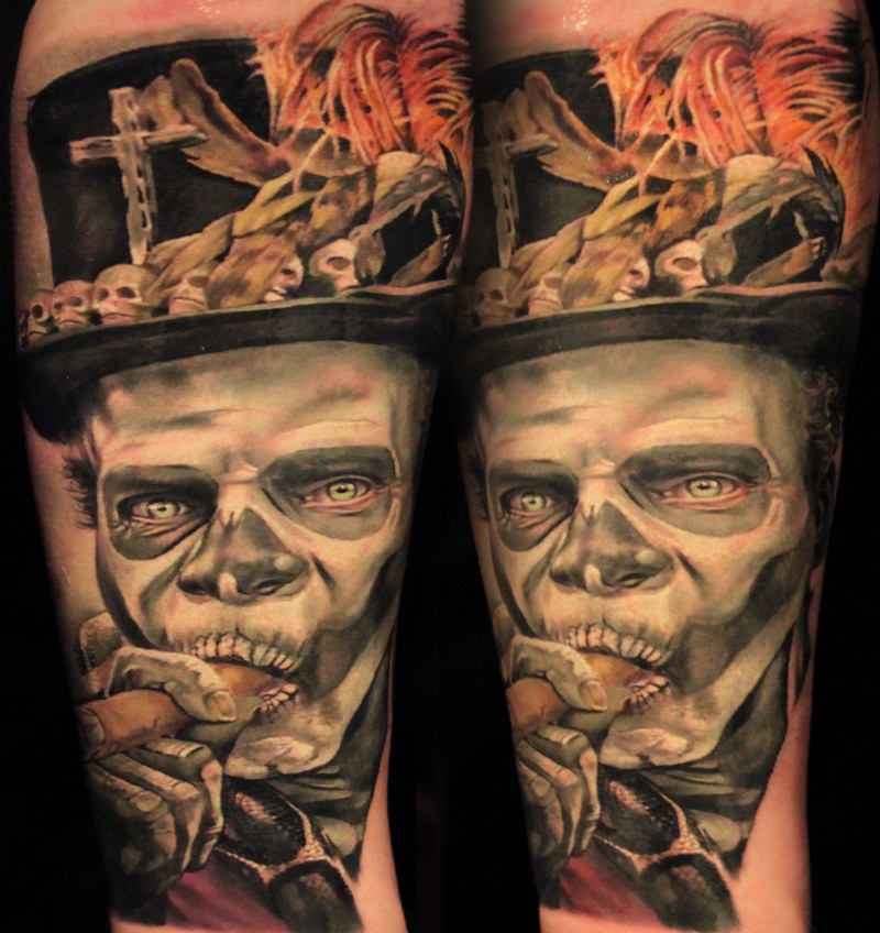 Illustrative style colored tattoo of zombie smoking face with cool hat
