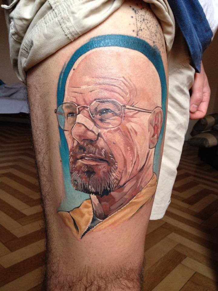 Illustrative style colored thigh tattoo of Breaking Bad main hero