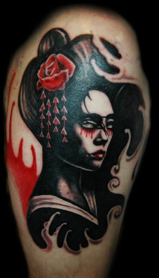 Illustrative style colored thigh tattoo of geisha woman