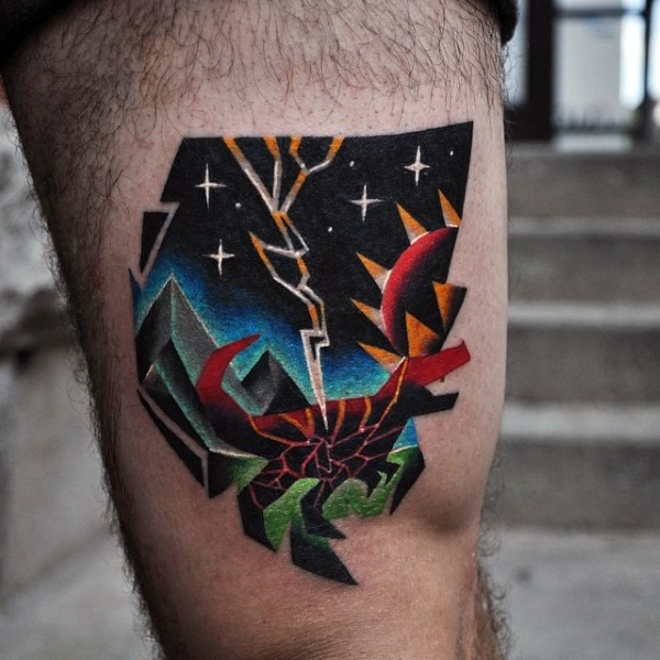 Illustrative style colored thigh tattoo of night monster with sun and lightning