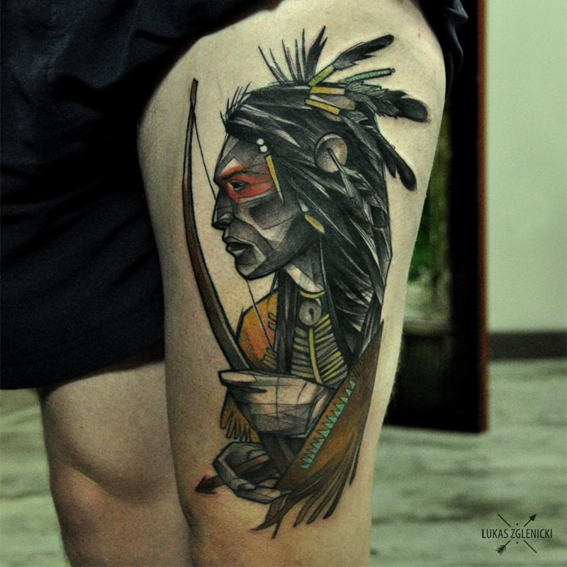 Illustrative style colored thigh tattoo of old Indian archer