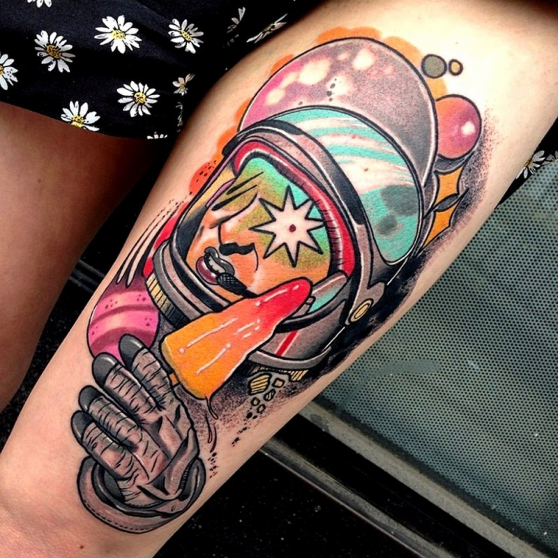 Illustrative style colored thigh tattoo of astronaut with ice-cream