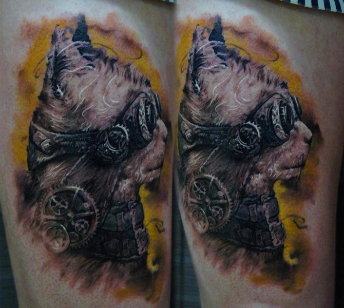 Illustrative style colored thigh tattoo of fantasy cat with glasses