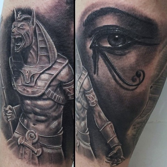 Illustrative style colored thigh tattoo of Egypt God with woman eye