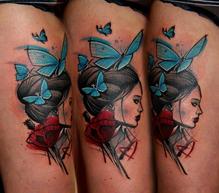 Illustrative style colored thigh tattoo of woman with butterflies and flowers