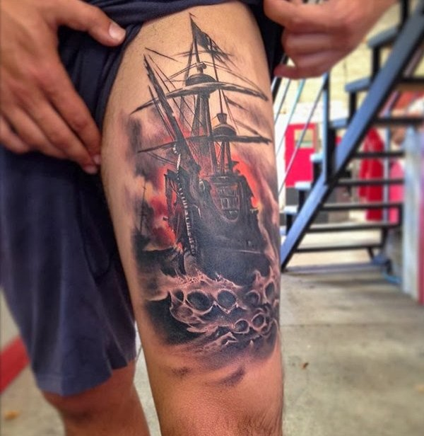 Illustrative style colored thigh tattoo of gorgeous sailing ship
