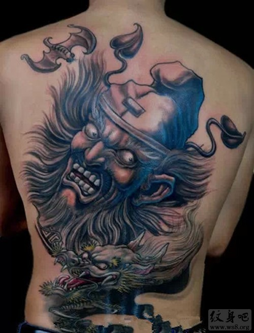 illustrative style colored whole back tattoo of creepy devil with dragon and bats