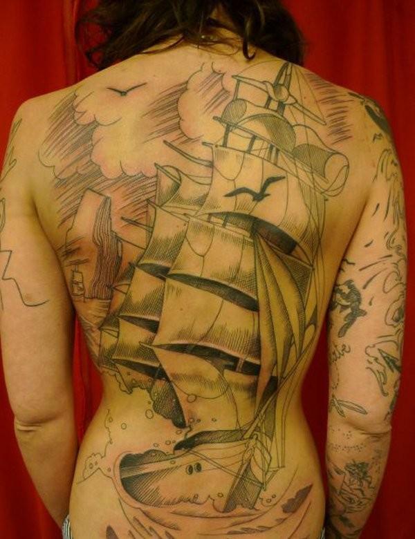 Illustrative style colored whole back tattoo of big sailing ship