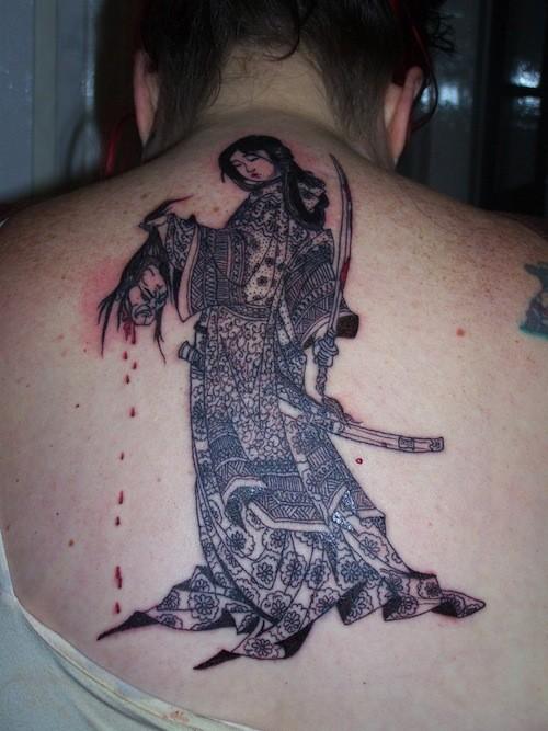 Illustrative style colored whole back tattoo of samurai woman with human head