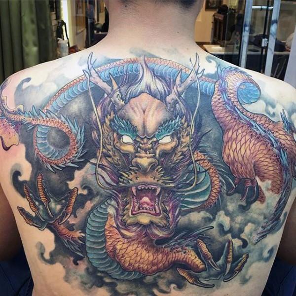 Illustrative style colored  whole back tattoo of big dragon