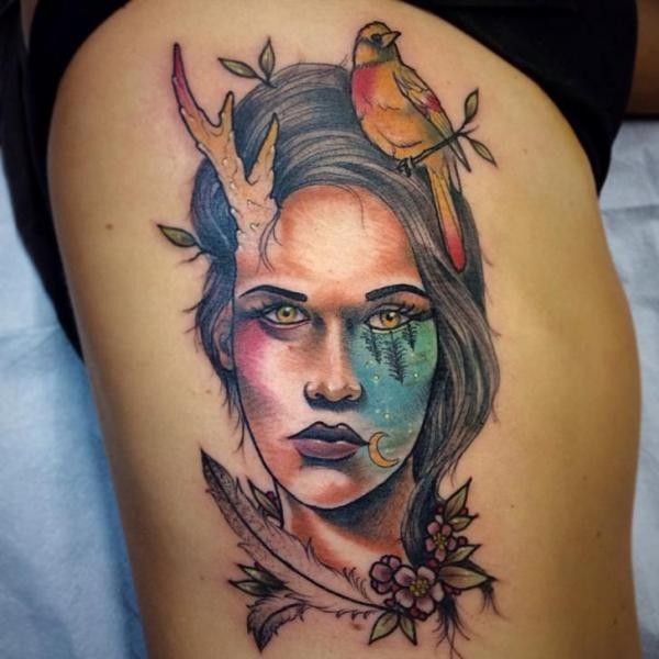 Illustrative style colored woman face with bird and flowers