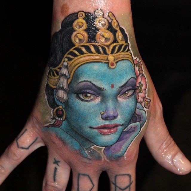 Illustrative style colorful hand tattoo of Hinduism Goddess