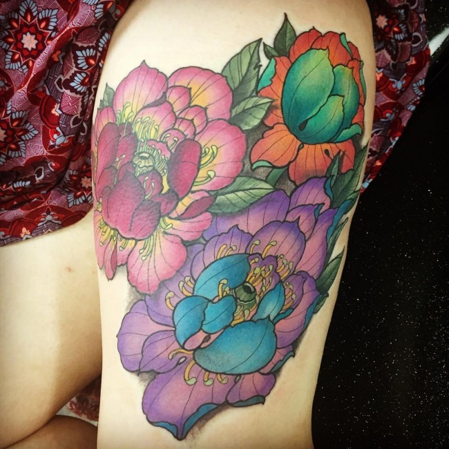 Illustrative style colorful thigh tattoo of various flowers