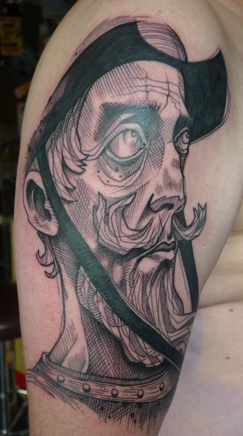Illustrative style detailed shoulder tattoo of man with beard face