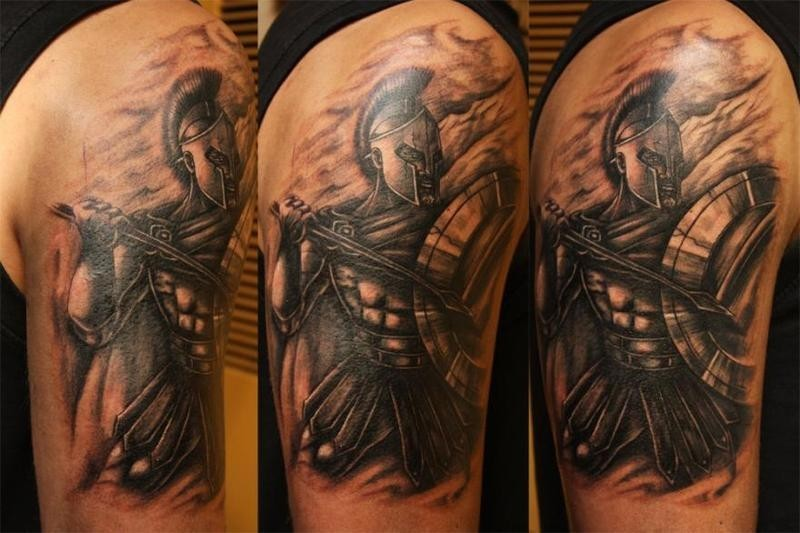 Illustrative style detailed shoulder tattoo of ancient warrior