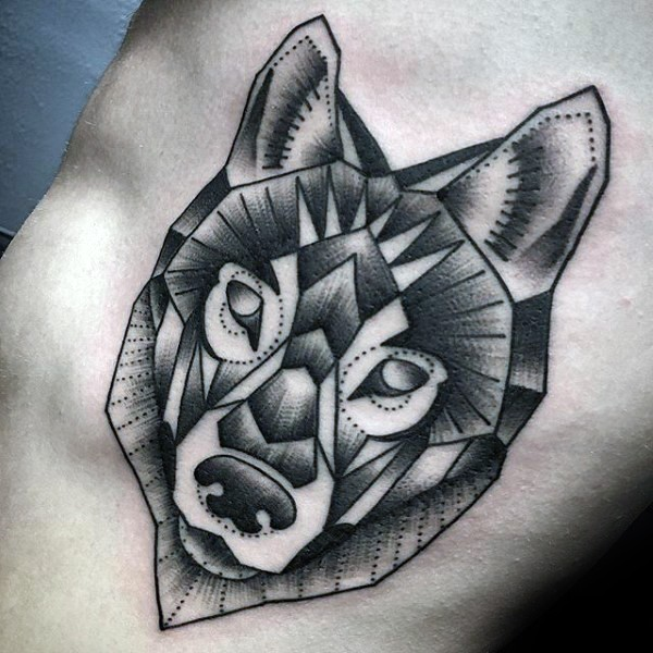 Illustrative style detailed side tattoo of wolf head