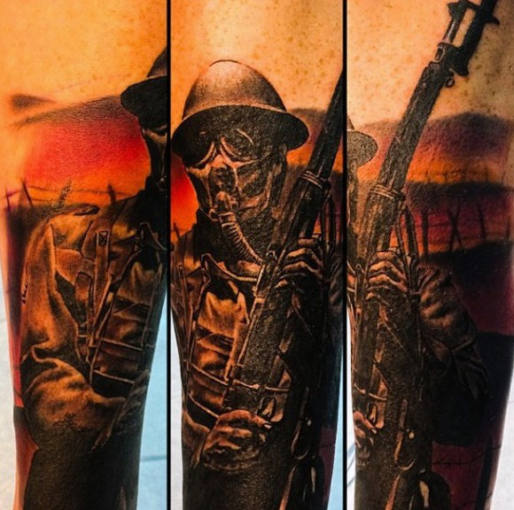 Illustrative style detailed soldier tattoo with gas mask and rifle