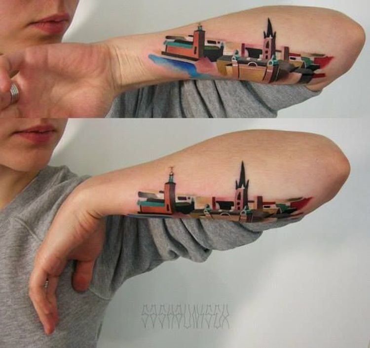 Illustrative style nice looking colored forearm tattoo fo old city