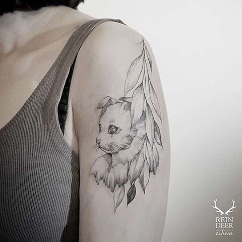 Illustrative style painted by Zihwa shoulder tattoo of cat with leaves