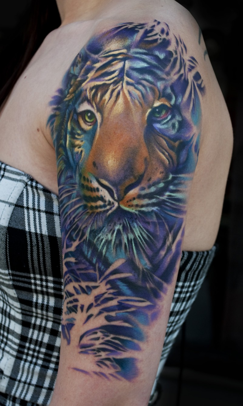 Illustrative style realistic colored sleeve tattoo of tiger face