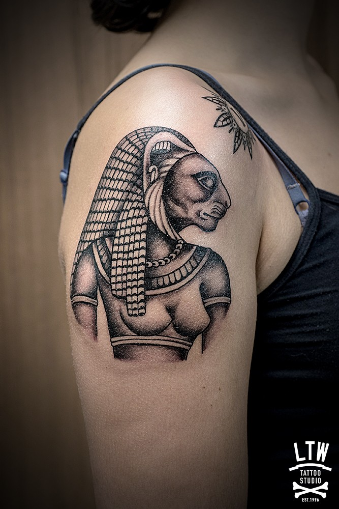 Illustrative style shoulder tattoo of Egypt Goddess