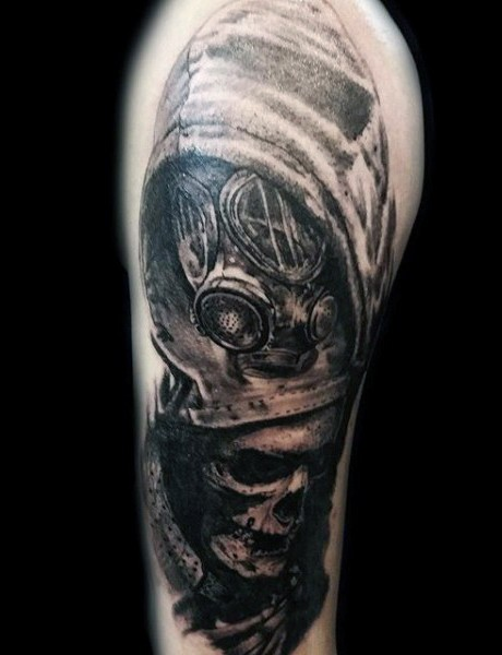 Illustrative style very detailed shoulder tattoo of man in gas mask and human skeleton