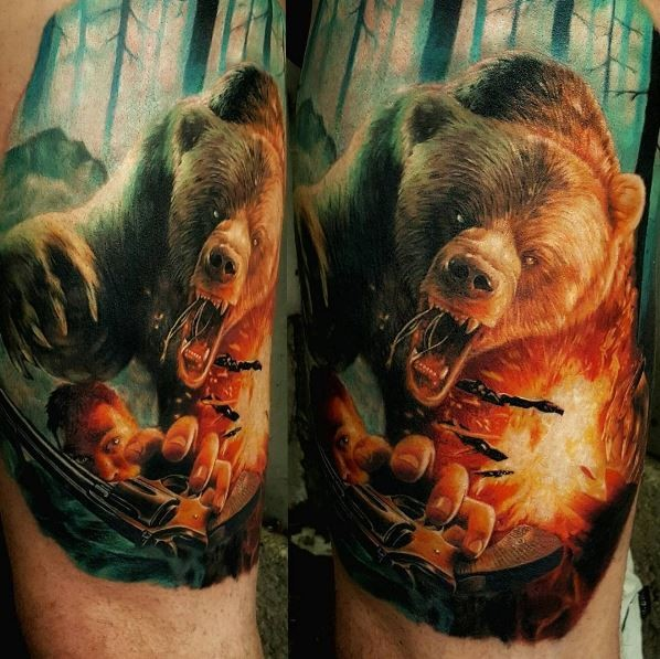 Illustrative style very detailed tattoo of evil bear attacking man with pistol